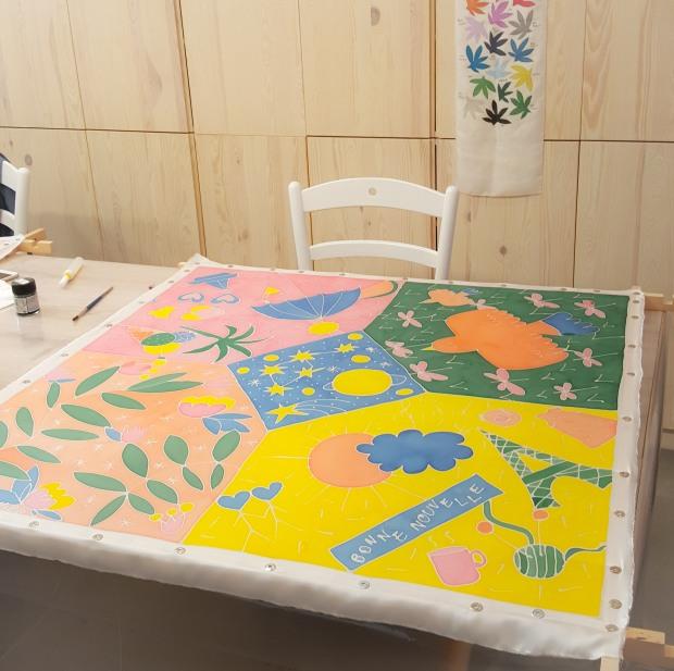 grand foulard peinture sur soie sokina la recolte