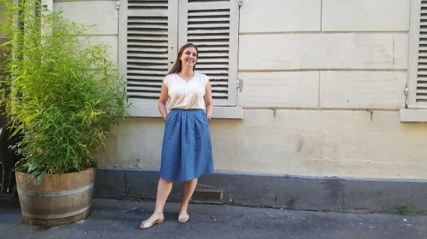 couture jupe en jean brodée façon des petits hauts