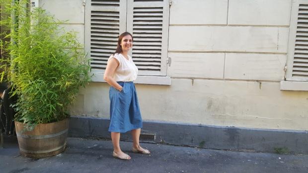 jupe mi longue en jean fluide brodée fleurs